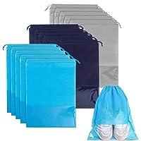 Lot de 15 sacs à chaussures de voyage en tissu non tissé avec cordon de serrage et fente transparente pour homme et…
