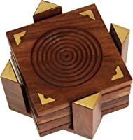 Wooden Coaster Set of 6 Bar Drink an T Coaster Holder Enjoy The Natural Wooden Drink Coasters Indian Hand Carved Home...