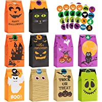 Halloween Treats Bags Party Favors - 50 Pcs Kids Halloween Candy Bags for Trick or Treating + 60 Pcs Halloween Stickers, Mini Paper Gift Bags for Treats Snacks, Halloween Goodie Bags Party Supplies