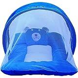 Nagar International Baby's Polyester Soft Mattress with Mosquito Net (Blue)