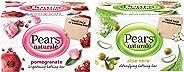 Pears Naturalé Pomegranate Brightening Bathing Soap Bar, 125 g (Pack of 3) & Pears Naturalé Aloe Vera Detoxifying Soap Bar,