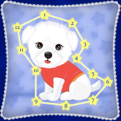 Schließen Sie die Punkte - Spiel für Kinder mit Zahlen, Buchstaben des Alphabets und Tiere in 5 Sprachen