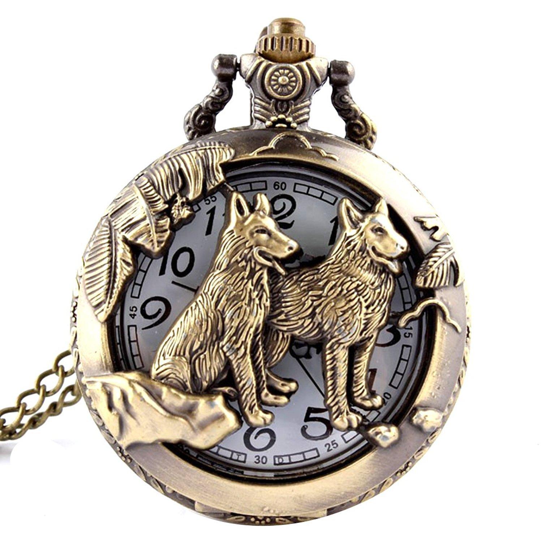 Cristoferv Cool Style Hollow Wolf Moon Bronze Antique Style Quartz Pocket Watch Necklace*1
