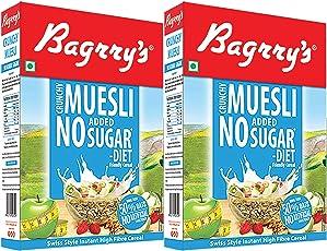 Bagrry's No Added Sugar Crunchy Muesli, 500g- Pack of 2