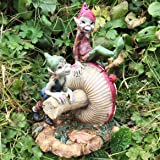 Pixie Frères assis sur un champignon magique Mystère de haute qualité Jardin Décoration figurines fée et Elfe enfants Hauteur