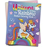 Ride A Unicorn and Chase The Rainbow - Sticker Coloring Book With 100+ Stickers: Fun Activity Book For Children