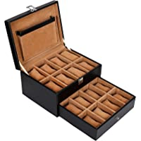 Leather World PU Leather Designer Watch Box Watch Case for Men Watches Storage Box for 16 Watches Watch Box Watch case…