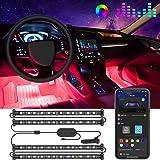 Interior Car Lights, Govee Car LED Strip Light Upgrade Two-Line Design Waterproof 4pcs 48 LED APP Controller Lighting Kits, M