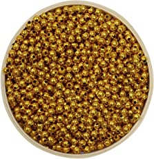 Asian Hobby Crafts Colourful Shining Beads - Round, Golden