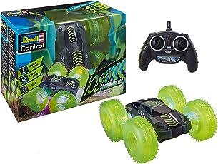 Revell 24633 RC Car Stunt Monster 1080 mit 2,4 GHz Fernsteuerung, mit Überschlagfunktion, beidseitig fahrbar, LED-Beleuchtung ferngesteuertes Auto mit Allrad-Antrieb, schwarz, Reifen in Neongrün, Länge: ca. 25 cm