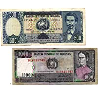 GOLD MINT 1981 Latin America Bolivianos 500, 1000 Pesos Original Foreign Currency Old Notes