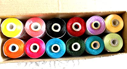 AM 12 Spool Poly Silk Thread for Tassel Making, Embroidery, Decorative and Lustrous Stitches AZO Free (Multicolour)