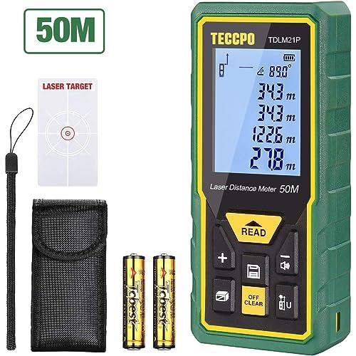TECCPO Telemetro Laser 50M, Sensore Angolare Elettronico, m/in/ft/ft+in, Funzione Muto, 30 Gruppi Dati, Distanza, Area, Volume, Pythagore, Angolo, IP54- TDLM21P