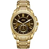 JBW Luxury Men's Prince 23 Diamonds 24HR Time Gold-Plated Stainless Steel Watch
