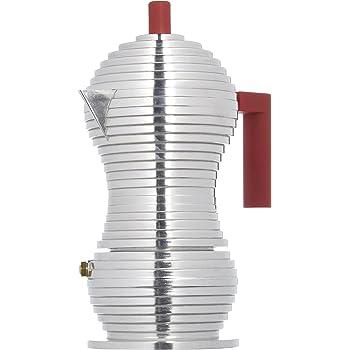 Alessi Mdl02/3 R Pulcina Cafetière Espresso en Fonte D'aluminium, Poignée et Pommeau en Pa, Rouge, 3 Tasses