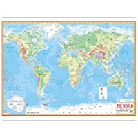 Physical World Map- English Language|Bold & Highlighted Outlines|Premium Quality Study Material