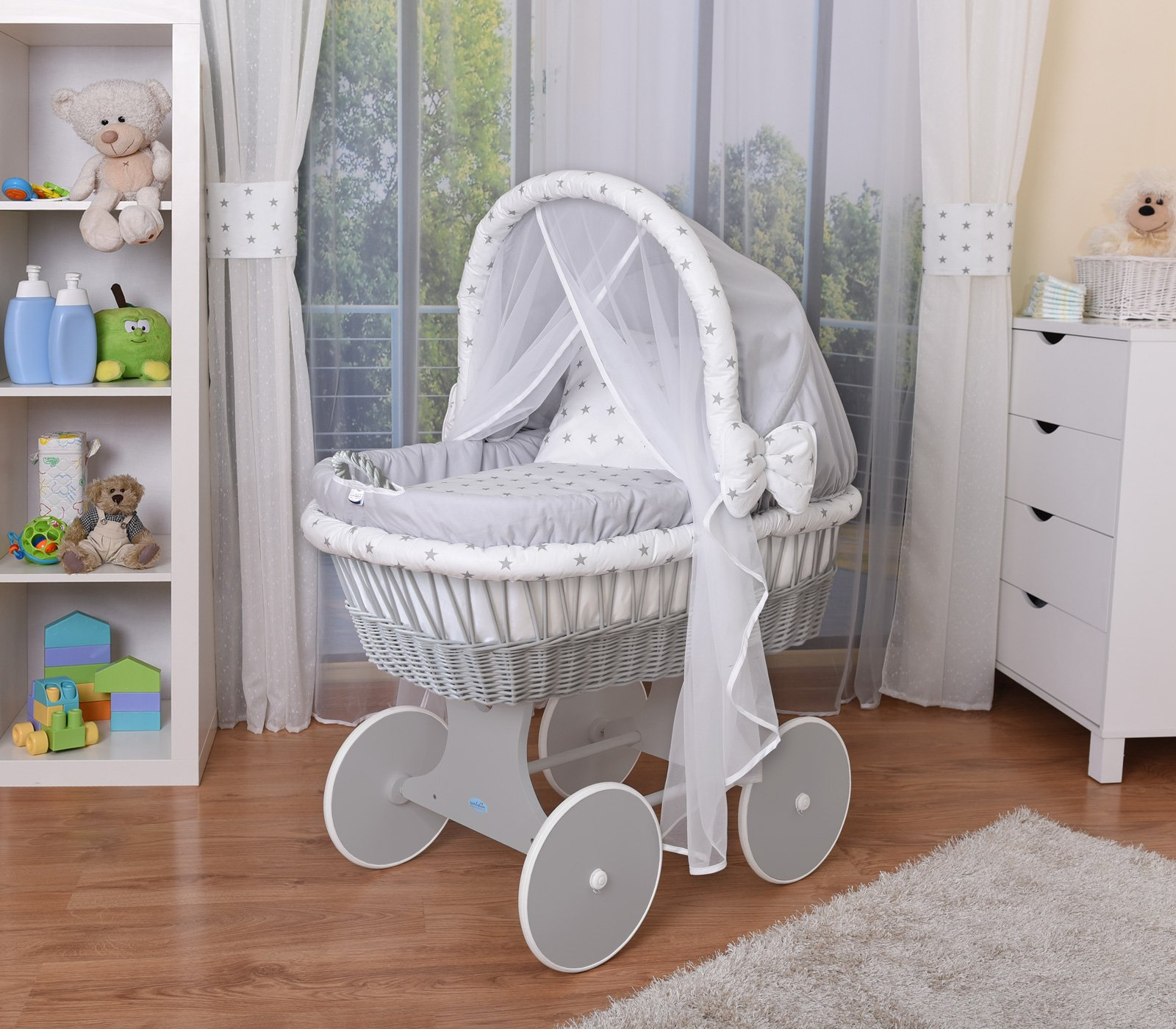 WALDIN Baby Wicker Cradle,Moses Basket,44 Models Available,Grey Painted Stand/Wheels,Textile Colour Grey/Grey Stars  For more models and colours on Amazon click on WALDIN under the title Bassinet complete with bedding and stand Certified to safety standard EN 1130-1/2 1