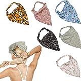 E-More 6 pezzi fasce per capelli con sciarpa elastica floreale, fazzoletto in chiffon morbido per capelli da donna, sciarpe c