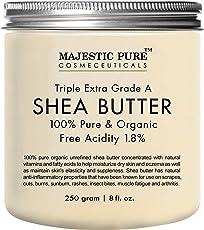 Majestic Athletic Pure Shea Butter, Organic Virgin Cold-Pressed Raw Unrefined - 8 Oz