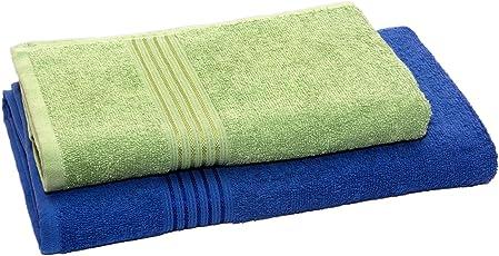 HomeStrap Classic Bath Towel Set -Blue & Olive Green-Pack of 2-Dummy