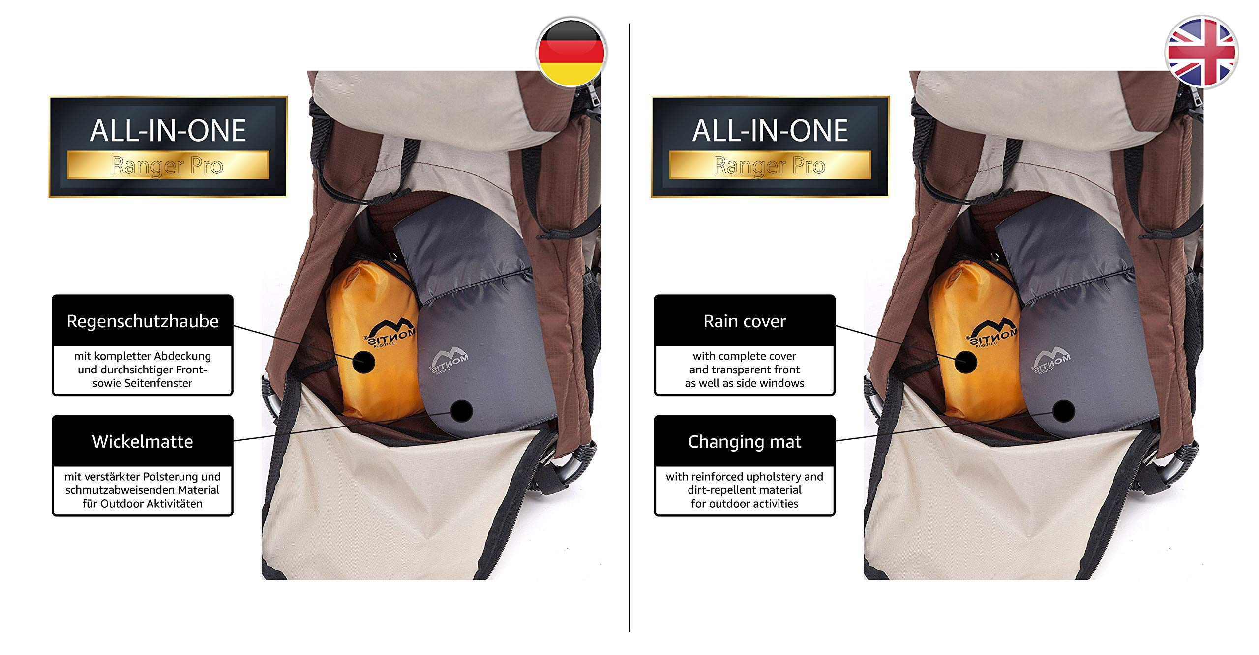 MONTIS RANGER PRO - Premium Backpack/Child Carrier - Holds up to 25kg M MONTIS OUTDOOR 89cm high, 37cm wide | Carries loads up to 25kg, seat bag 30L | Approx. 2.3kg (without extras) Easy-clean outer material | Fully-adjustable, padded 5-point child harness Super soft plush lining, raised wind guard, can be loaded from both sides | Fully-adjustable carry support system, additional ergonomic options for women | Comfortable waist belt for extended wearing with side pockets 7