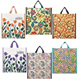 DOUBLE R BAGS Multicolour Canvas Shopping Bag with Double Handle, Cloth Grocery Tote Bags, Reusable Shopping Grocery Bags,Fol