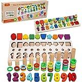 Felly Juguetes Educativos 1 2 3 años Niños, Juguetes de Madera Montessori Bebe Tablero de Conteo Números Apilamiento Clasific