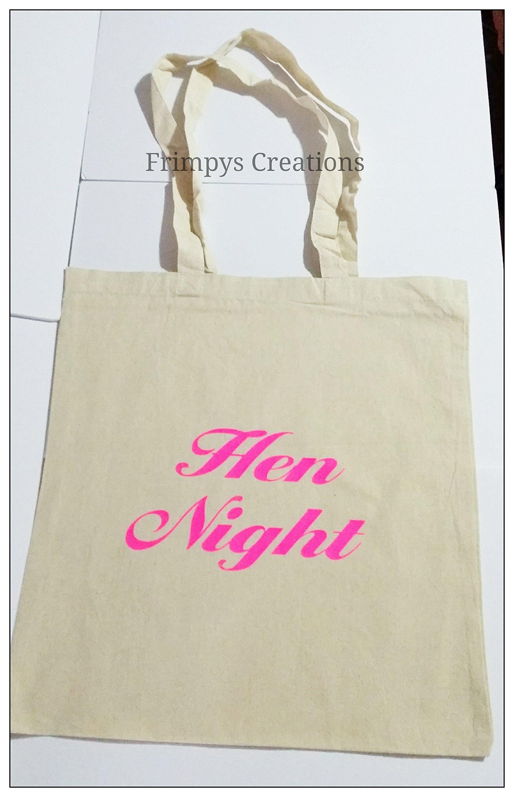 Wedding Favour Tote Bag cotton Printed Gift Present Keep Hen Night Novelty (BAG) - handmade-bags