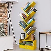 Casacrest Engineered Wood Matte Finish Standing Tree Display Rack Book Shelf Organizer with Extra Storage (Yellow…