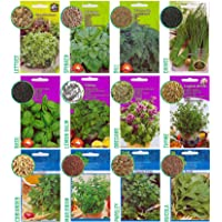 12 Herb Seed Mix - 8700 Seeds: Basil, Thyme, Oregano, Marjoram, Dill, Parsley, Coriander, Chive, Spinach, Melissa, Rocket, Lettuce. Ready for Planting Outdoors and Indoors, Grow Your Own Garden Herbs