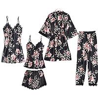 Lachi Pyjama Silk Satin Pajamas Sleepwear Set Nightwear Nighties 5Pcs Robe Dressing Gown V-Neck Robes Nightwear Sleepwear Silk