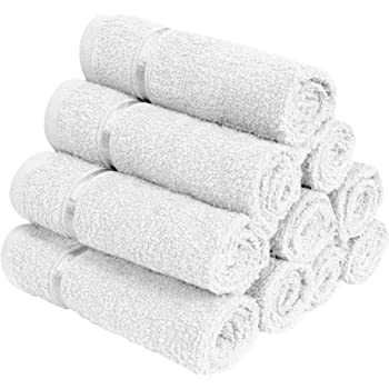 Story@Home Set Of 10 100% Cotton Thick Large Towel Soft Face Towels White With Striped
