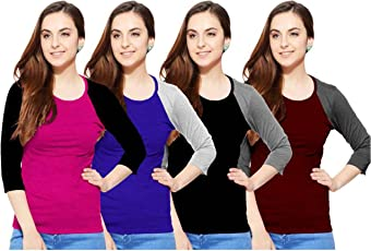 So Sweety Women's Cotton Raglan Sleeve T-Shirt - Pack of 4