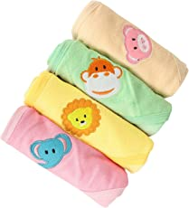 Kurtzy Baby Shower Bath Hooded Cotton Wrap Towels Blanket Bathrobe - Multi Colour (Pack Of 4)