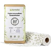 [2x] 100% Bambus KÜCHENROLLE Waschbar | Ersetzt bis zu 50 Haushaltrollen Wiederverwendbar | Waschbare Küchentücher | Papiertücher | Bambusrolle Nachhaltig | Umweltfreundliche Allzwecktücher (Weiss)