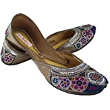 Fulkari Women's Soft Leather Bite and Pinch Free Embroidered On Genuine Leather Shine Multicolor Soft and Comfortable Jutis E