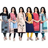 Navlik Women's Crepe Stitched Kurti Combo Pack of 6 (Multi-Coloured)
