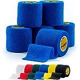 6 Rolls - SPORTTAPE Cohesive Sock Tape, Shin Pad Football Tape, Keeper Tape - 5cm x 4.5m - Blue - Latex Free Compression Band