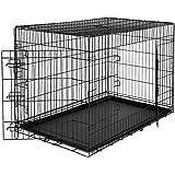 dibea Transportkäfig für Hunde und Kleintiere, stabile Box aus kräftigem Draht, faltbar / klappbar, 2 Türen, mit Bodenschale