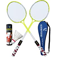 SUNSTONE Badminton Rackets Steel Body DF 3700 with 6 Feather Shuttlecocks Full Cover