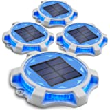 Siedinlar Solar Deck Lights Outdoor 2 Modes LED Driveway Markers Dock Light Solar Powered Waterproof for Step Walkway Ground