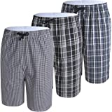IDORIC Men's Pyjama Shorts — 100% Woven Soft Cotton Plaid Check Lounger Sleeping Pajama Bottoms with,Pockets 2-3Pack