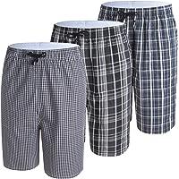 IDORIC Men's Pyjama Bottoms 3 Pack 100% Cotton Nightwear Checked Shorts Lounge Bottoms