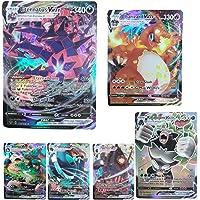 BULANUO 100 Cartes Pokémon, V VMAX Flash Trading Puzzle Jeu de Cartes Amusant 2021 Nouveau / 60 V + 40 VMAX