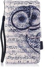 Galaxy J3 Hülle, Galaxy J3 2016 Hülle, Samsung Galaxy J3 2016 Lederhülle, Samsung Galaxy J3 2016 (J320F) Brieftasche, BONROY Tier Muster Niedlich Komisch Ledertasche Handyhülle Kunstleder Tasche Wallet Cover Flip Tasche Case, Premium PU Leder Slim Fit Filio Schutzhülle mit Bunt Abnehmbar Handschlaufe [Standfunktion] [Bargeld und Kartensteckplätze] und Weich Silikon Innere Wallet Tasche Hüllen für Samsung Galaxy J3 (2016) DUOS 5,0 Zoll (12,63 cm) - Notiz Eule