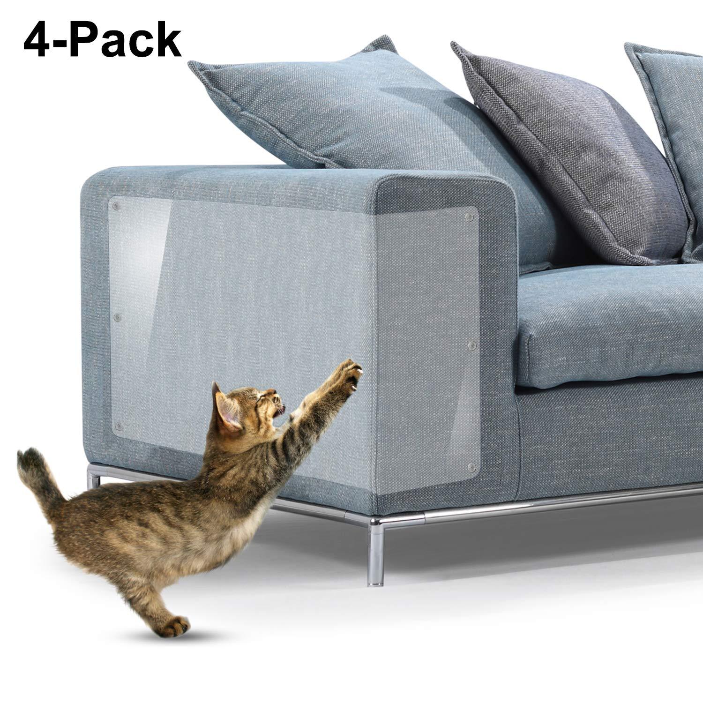 Protectores contra rayones para muebles, 4 paquetes X-Large Protectores protectores de sofá de vinilo flexible superior con pasadores para proteger sus muebles tapizados, 18 «L X 12» W
