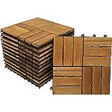 SAM Terrassenfliese 02 Akazien-Holz, FSC® 100%, 11er Spar-Set für 1m², 30x30cm, Bodenbelag mit Drainage, Klick-Fliesen