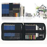 41PCS kit de dessin pro avec Crayons Fusain, crayon de couleur aquarellable, crayon graphite et accessoire dessin dans…