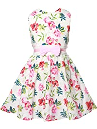 Gorgeya Girls Dresses Party Wedding Bridesmaid Princess Flower Dress for Girl  Sundress Floral Print Kids Vintage 26935bbf9bcc