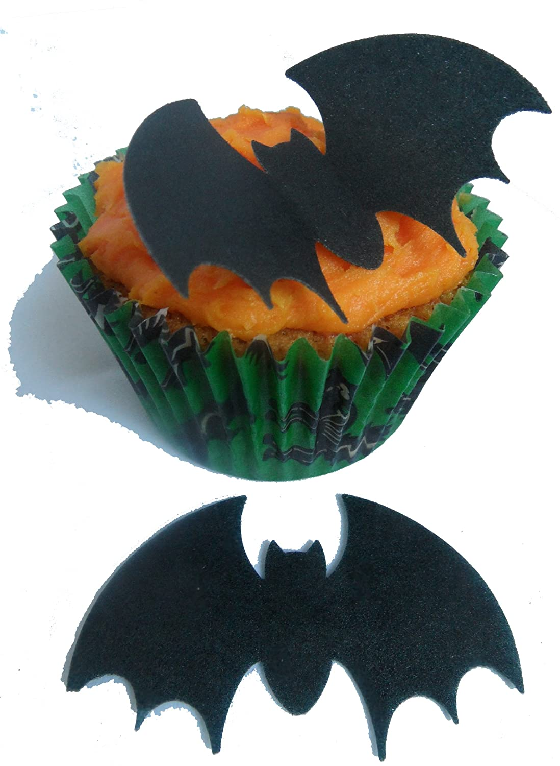 toppercake edible wafer halloween bat cup cake decorations amazoncouk grocery - Halloween Bat Decorations